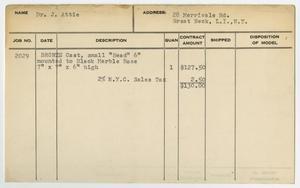 Client Card: Dr. J. Attie, Roman Bronze Works Client Card Index
