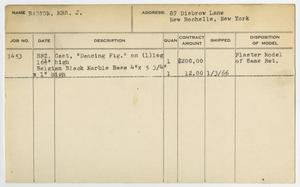 Client Card: Mrs. J. Barzon, Roman Bronze Works Client Card Index