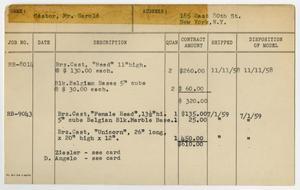 Client Card: Mr. Harold Castor, Roman Bronze Works Client Card Index