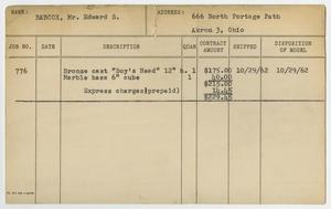 Primary view of object titled '[Client Card: Mr. Edward S. Babcox]'.