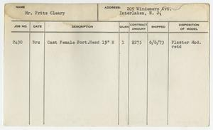 Client Card: Mr. Fritz Cleary, Roman Bronze Works Client Card Index