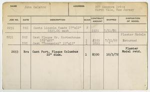Client Card: Mr. John Calabro, Roman Bronze Works Client Card Index
