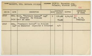 Primary view of object titled '[Client Card: Mrs. Barbara Crisler Bassett]'.