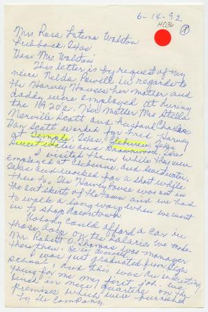 [Letter from Ruth Narville Newton to Rosa Walston Latimer - June 14, 1992]