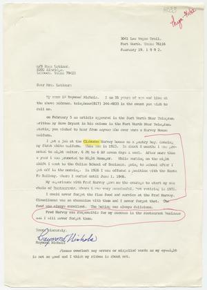 [Letter from Raymond Nichols to Rosa Walston Latimer - February 19, 1992]