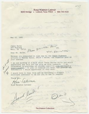[Letter from Rosa Walston Latimer to James Balke - May 12, 1992]
