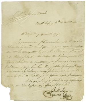 Primary view of object titled '[Letter from Santa Anna to Zavala, August 24, 1829]'.