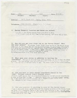 Primary view of object titled '[Questionnaire filled out by Cleo Wolf]'.