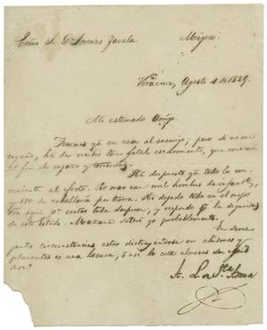 Primary view of [Letter from Santa Anna, August 4, 1829]