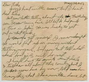 Primary view of object titled '[Letter from John Todd Willis, Jr. to his Parents, May 20, 1943]'.