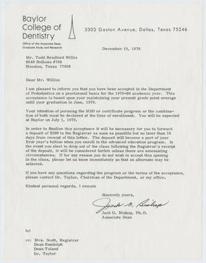 Primary view of object titled '[Letter from Jack G. Bishop to Todd Bradford Willis, December 15, 1978]'.