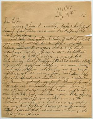 Primary view of object titled '[Letter from John Todd Willis, Jr. to his Parents, July 18, 1945]'.