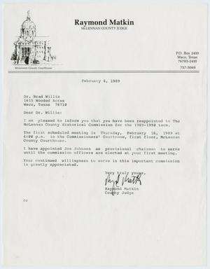 Primary view of object titled '[Letter from Raymond Matkin to Todd Bradford Willis, February 6, 1989]'.