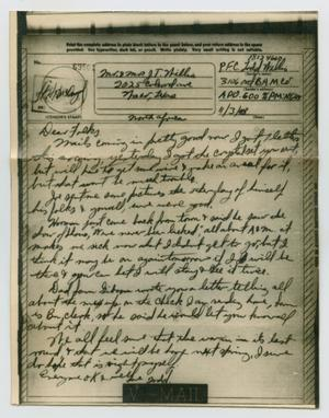 Primary view of object titled '[Letter from John Todd Willis, Jr. to his Parents, November 3, 1943]'.
