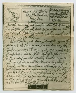 Primary view of object titled '[Letter from John Todd Willis, Jr. to his Parents, April 22, 1944]'.
