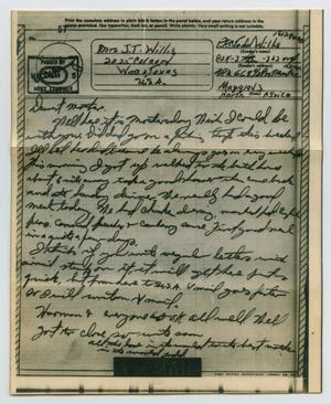 Primary view of object titled '[Letter from John Todd Willis, Jr. to Clara Evans Willis, May 9, 1943]'.