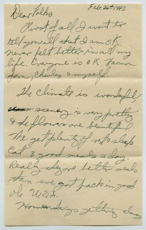 Primary view of object titled '[Letter from John Todd Willis, Jr. to his Parents, February 26, 1943]'.