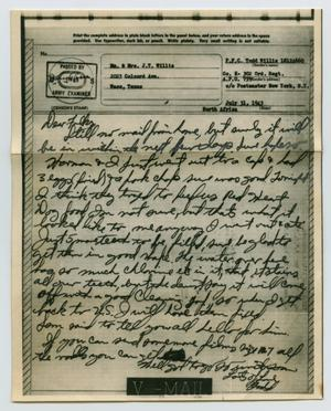 Primary view of object titled '[Letter from John Todd Willis, Jr. to his Parents, July 31, 1943]'.