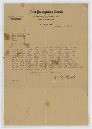 Primary view of object titled '[Letter from C. T. Caldwell to John T. Willis, Sr., October 7, 1926]'.
