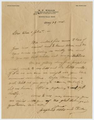 Primary view of object titled '[Letter from Robert Parker, Abbie T., and Josephine Willis to Clara and John T. Willis Sr., May 29, 1925]'.