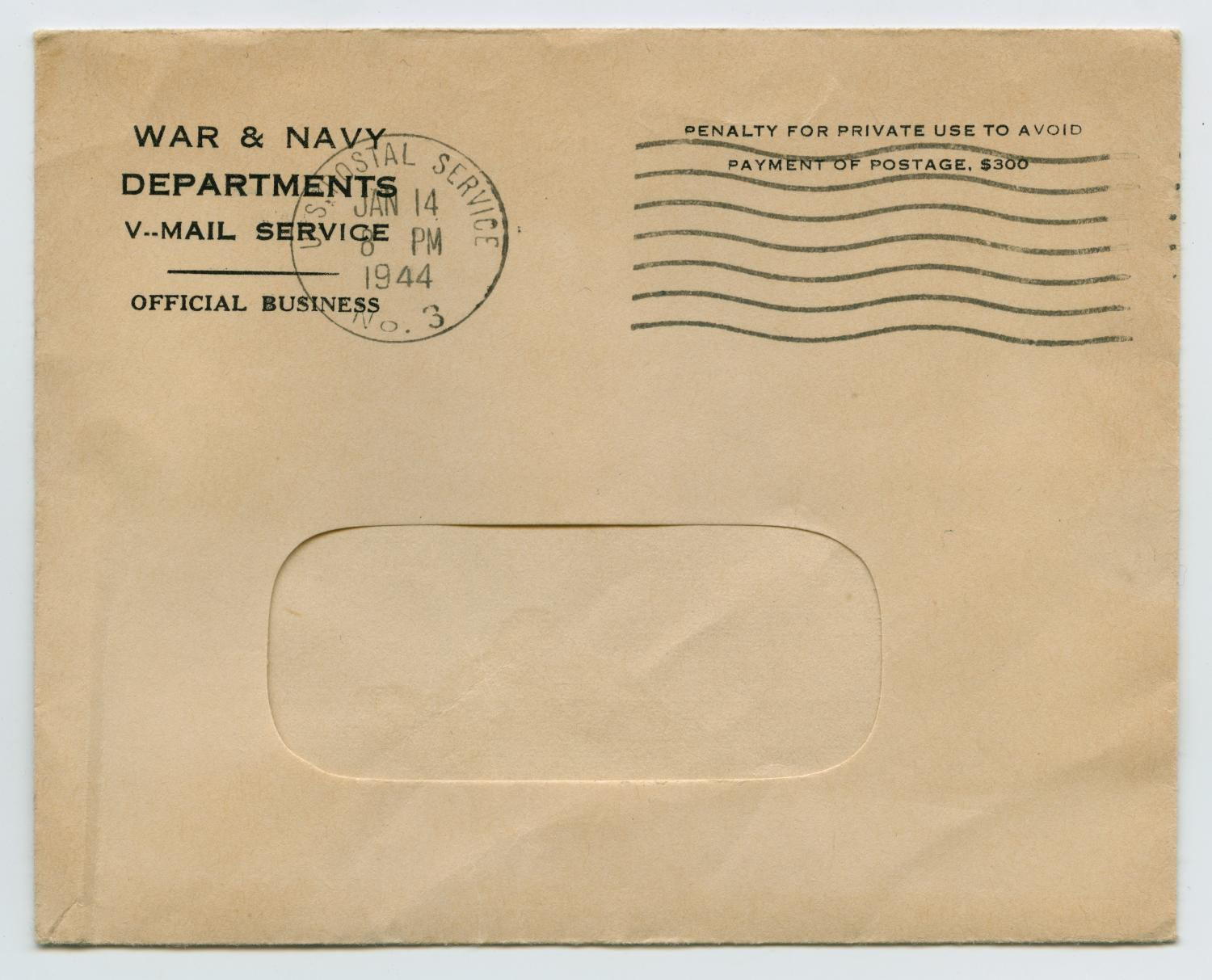 [Letter from John Todd Willis, Jr. to his Parents, January 1, 1944]                                                                                                      [Sequence #]: 3 of 4