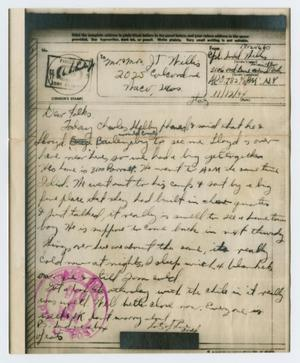 Primary view of object titled '[Letter from John Todd Willis, Jr. to his Parents, November 12, 1944]'.