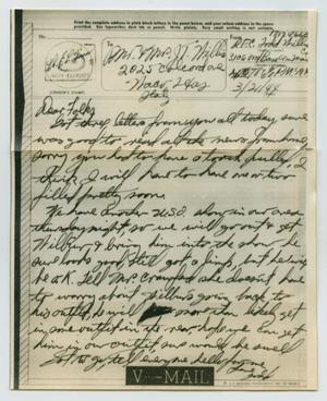 Primary view of object titled '[Letter from John Todd Willis, Jr. to his Parents, March 21, 1944]'.
