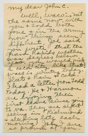 Primary view of object titled '[Letter from Clara Evans Willis to John C. Lattimore, January 6, 1943]'.