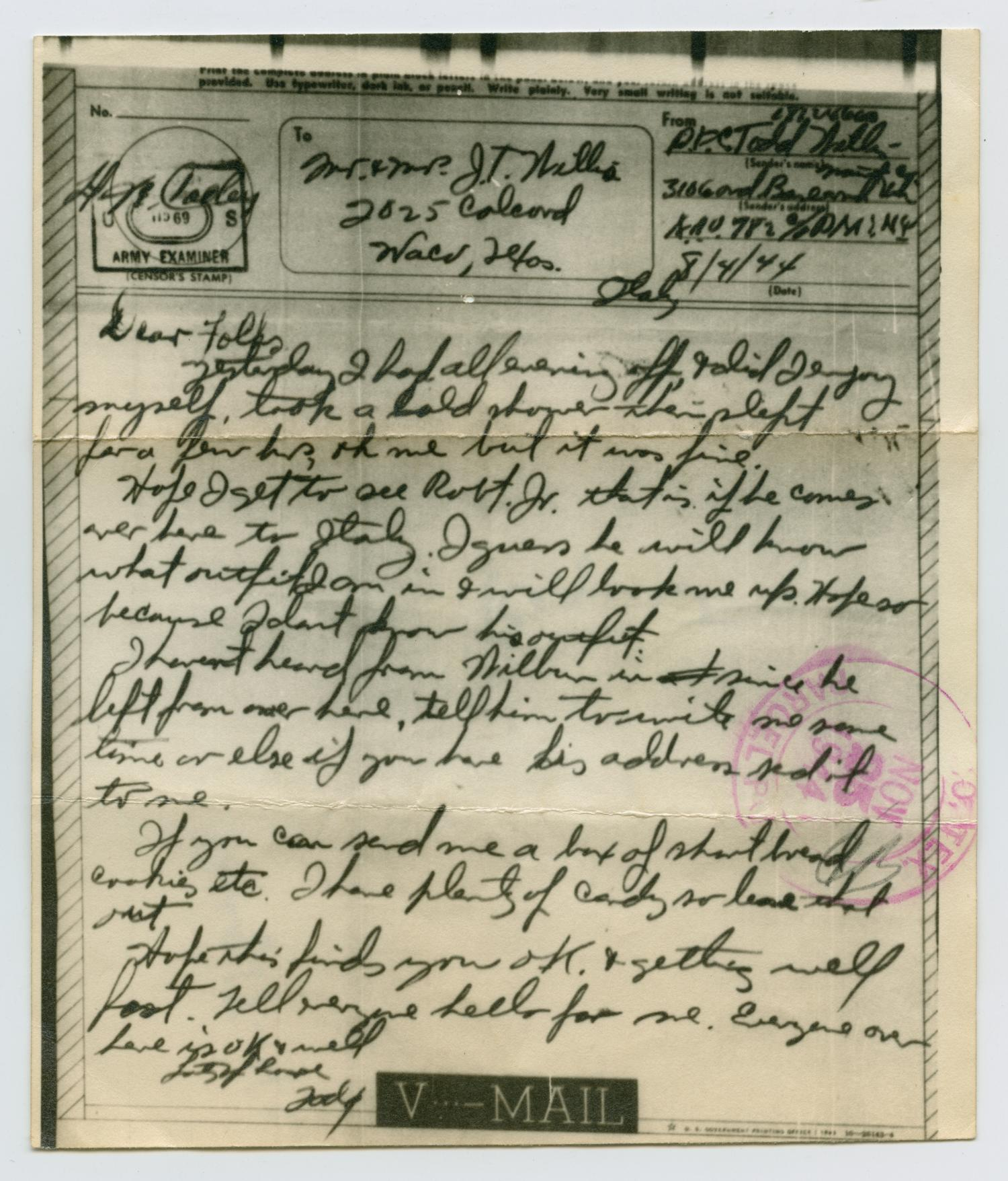 [Letter from John Todd Willis, Jr. to his Parents, August 4, 1944]                                                                                                      [Sequence #]: 1 of 4