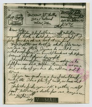 Primary view of object titled '[Letter from John Todd Willis, Jr. to his Parents, August 4, 1944]'.