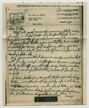 Primary view of object titled '[Letter from John Todd Willis, Jr. to his Parents, September 3, 1943]'.