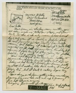 Primary view of object titled '[Letter from John Todd Willis, Jr. to his Parents, November 21, 1943]'.