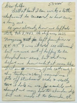 Primary view of object titled '[Letter from John Todd Willis, Jr. to his Parents, May 13, 1945]'.
