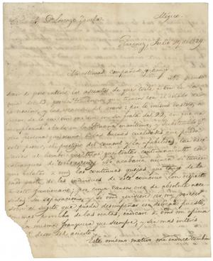 Primary view of object titled '[Letter from Santa Anna to Zavala, July 29, 1829]'.