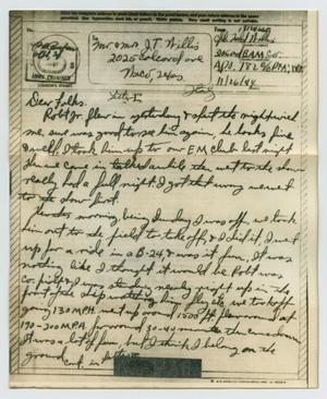 Primary view of object titled '[Letter from John Todd Willis, Jr. to his Parents, November 26, 1944]'.