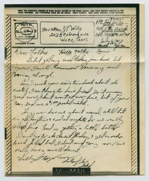 Primary view of object titled '[Letter from John Todd Willis, Jr. to his Parents, July 6, 1943]'.
