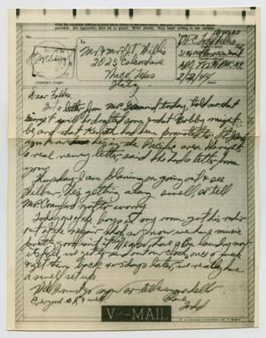 Primary view of object titled '[Letter from John Todd Willis, Jr. to his Parents, February 22, 1944]'.