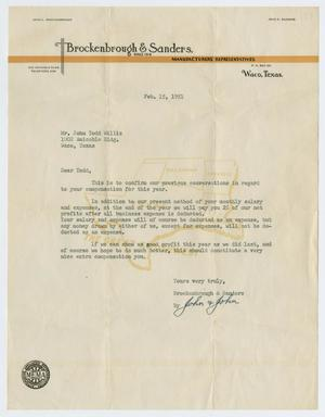 Primary view of object titled '[Letter from Brockenbrough and Sanders to John Todd Willis, Jr., February 15, 1951]'.