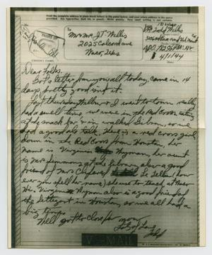Primary view of object titled '[Letter from John Todd Willis, Jr. to his Parents, April 1, 1944]'.