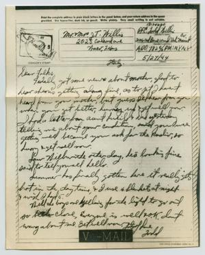 Primary view of object titled '[Letter from John Todd Willis, Jr. to his Parents, May 27, 1944]'.