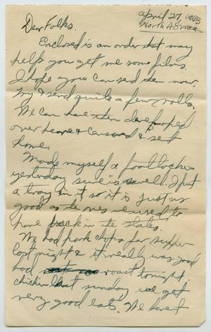 Primary view of object titled '[Letter from John Todd Willis, Jr. to his Parents, April 27, 1943]'.