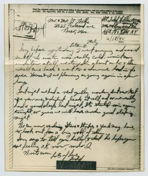 Primary view of object titled '[Letter from John Todd Willis, Jr. to his Parents, June 18, 1944]'.