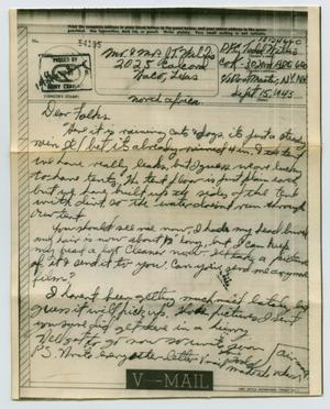Primary view of object titled '[Letter from John Todd Willis, Jr. to his Parents, September 15, 1943]'.