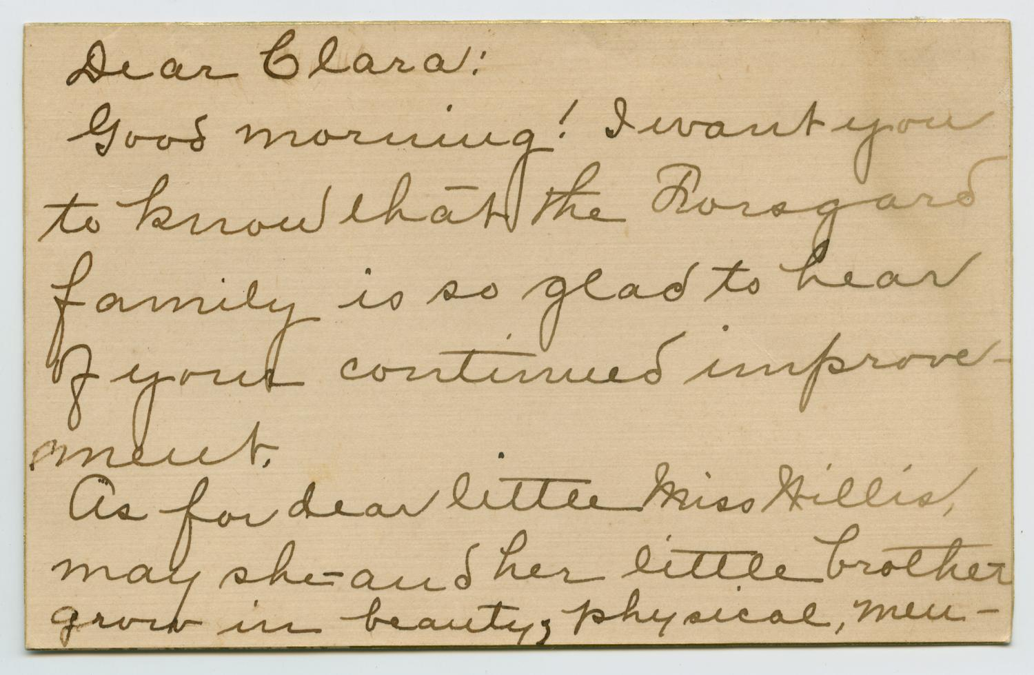 [Letter from Annie M. Forsgard to Clara Evans Willis]                                                                                                      [Sequence #]: 1 of 2