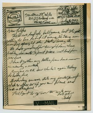 Primary view of object titled '[Letter from John Todd Willis, Jr. to his Parents, July 4, 1943]'.