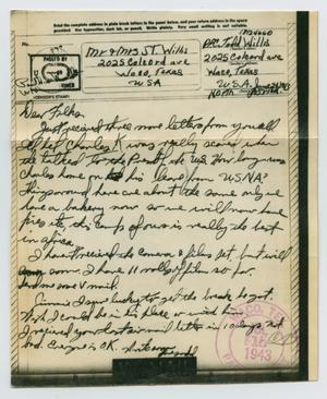 Primary view of object titled '[Letter from John Todd Willis, Jr. to his Parents, June 24, 1943]'.