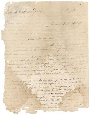 Primary view of object titled '[Letter from Santa Anna to Zavala, July 24, 1829]'.