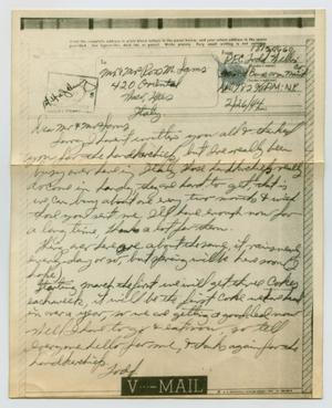 Primary view of object titled '[Letter from John Todd Willis, Jr. to Mr. and Mrs. Ross M. Sams, February 26, 1944]'.