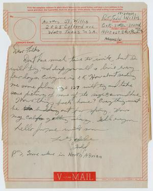 Primary view of object titled '[Letter from John Todd Willis, Jr. to his Parents, March 1943]'.