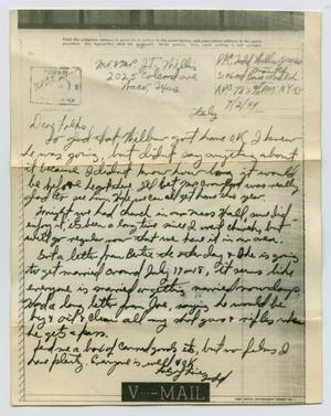 Primary view of object titled '[Letter from John Todd Willis, Jr. to his Parents, July 2, 1944]'.